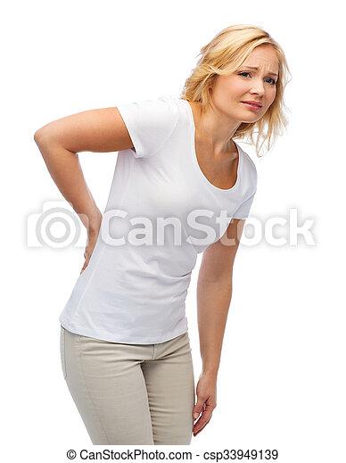 unhappy woman suffering from backache - csp33949139
