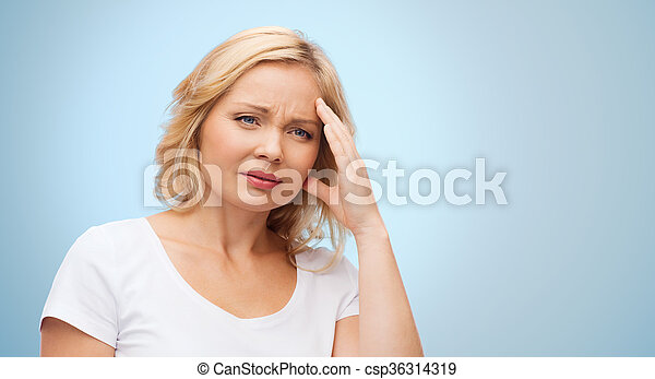 unhappy woman suffering from headache - csp36314319