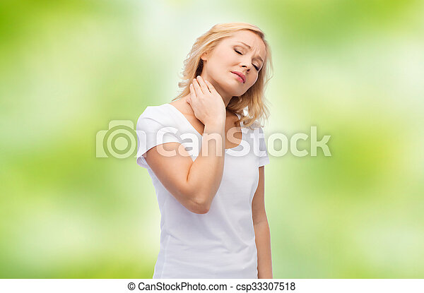 unhappy woman suffering from neck pain - csp33307518