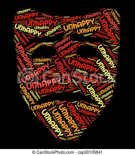 Unhappy Word Shows Broken Hearted And Depressed
