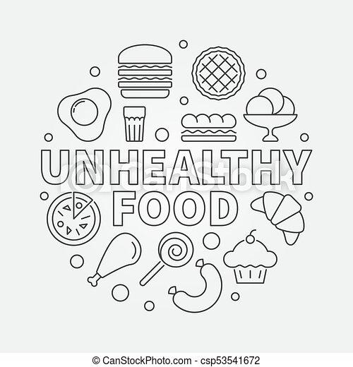 Unhealthy Food Round Illustration Vector Junk Concept