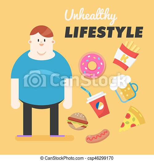 Fat Woman Figure Unhealthy Lifestyle Vector Flat ... |Unhealthy Lifestyle Icon