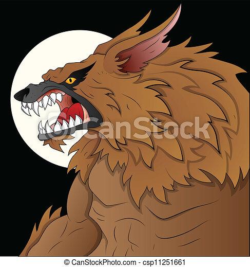 unheimlicher , abbildung, werwolf - csp11251661