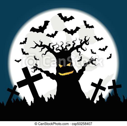 Unheimlicher , voll, altes , friedhof, baum, halloween,... Vektor ...