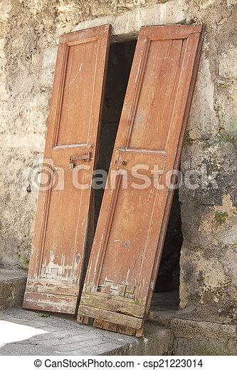 Unhinged double door - csp21223014 & Unhinged double door. Two unhinged house door panels.