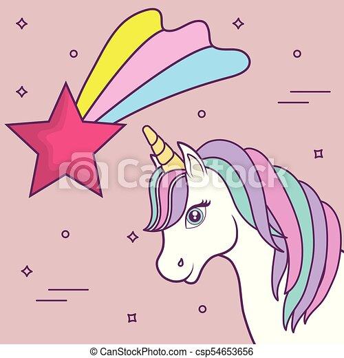unicórnios desenho mágico estrela cor de rosa coloridos sobre