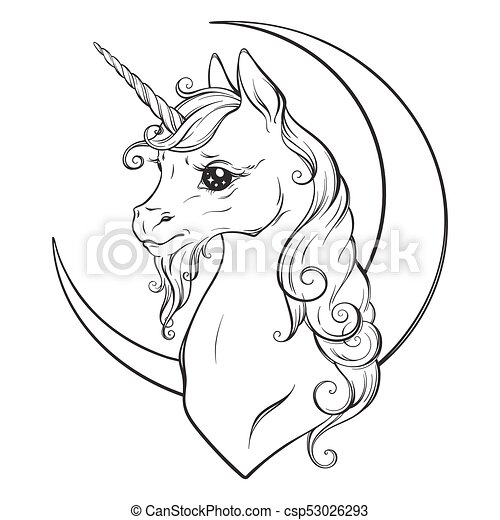 Unicorn And Crescent Moon Coloring Book Pages Little Unicorn And