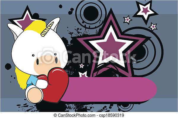 Line Art Valentine : Unicorn baby cute cartoon valentine wallpaper in vector
