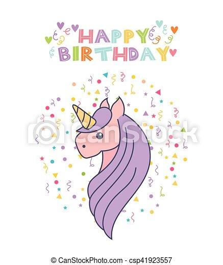 Unicorn Birthday Card Happy Birthday Card With Cute Unicorn Icon