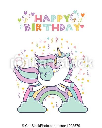 Unicorn Birthday Card Happy With Cute Icon
