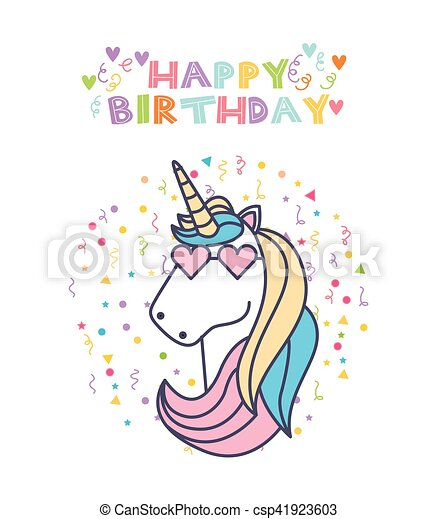 Unicorn Birthday Card Happy Birthday Card With Cute Unicorn Icon