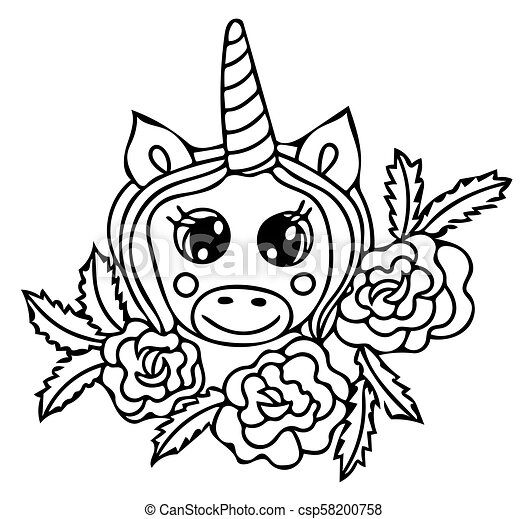 Unicorn Black Line Isolated Magical Cute Animal Vector Artwork Coloring Book Pages For Adults And Kids Wedding Invitation Card Ticket Branding