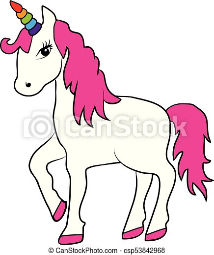 vector magical unicorn with rainbow horn clip art vector search rh canstockphoto com unicorn clipart pictures unicorn clipart free download