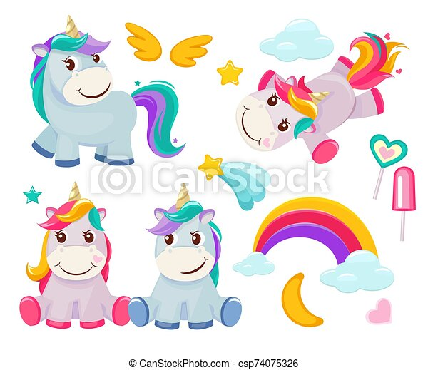 Unicorn. Cute Magic Animals Happy Birthday Symbols Little Pony Baby Horse  Vector Colored Cartoon Pictures. Illustration Of CanStock