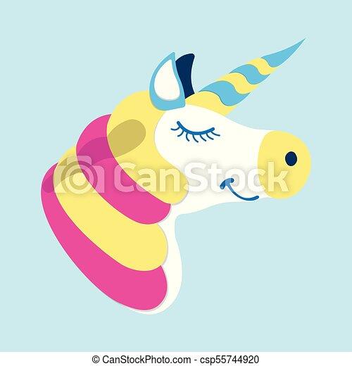 Unicorn icon. Fantasy World of the Unicorn. Cartoon style. Vector Illustration - csp55744920