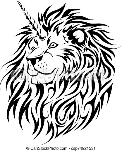 Unicorn Lion tattoo design - csp74921531