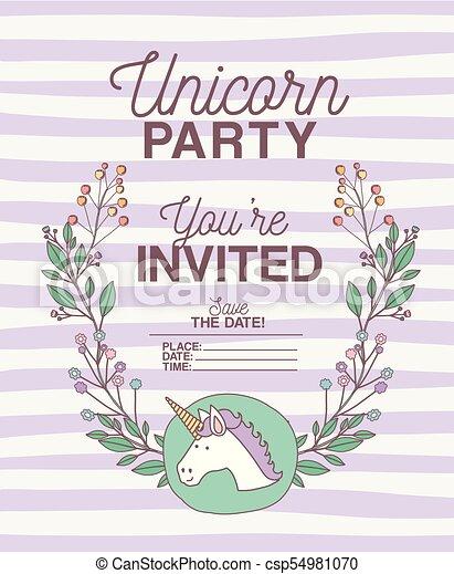 Unicorn party invitation card with floral decoration vector unicorn party invitation card with floral decoration csp54981070 stopboris Choice Image