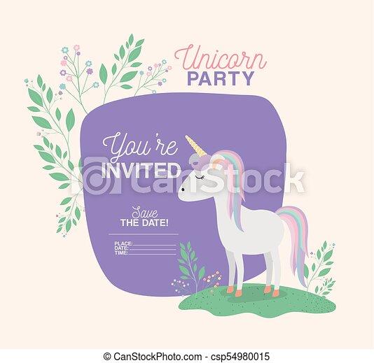 Unicorn party invitation card with floral decoration vector unicorn party invitation card with floral decoration csp54980015 stopboris Choice Image