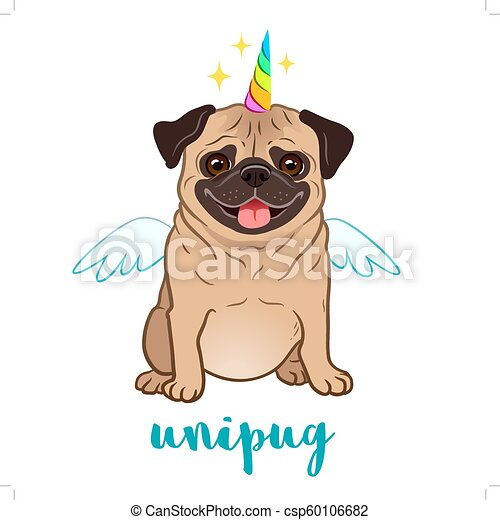Unicorn Pug Dog With Horn And Wings Vector Cartoon Illustration
