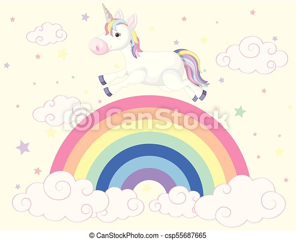 Unicorn running on the rainbow - csp55687665