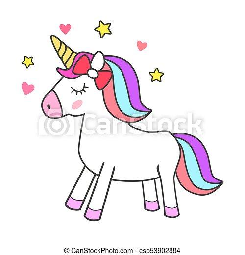 Unicorno Magia Isolato Disegno Carino Magia Simbolo Stars
