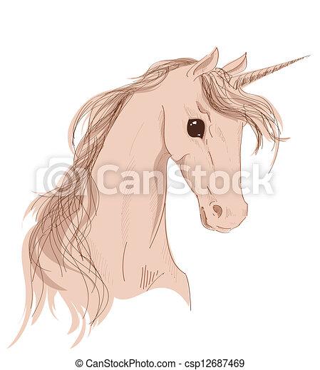 Testa Sfondo Bianco Unicorno