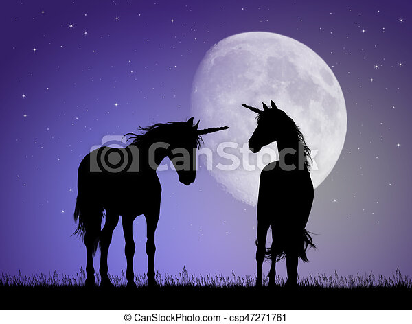 unicorns in the moonlight - csp47271761