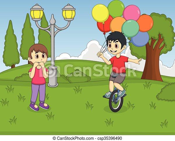 unicycle, junge, spielende , besitz - csp35396490