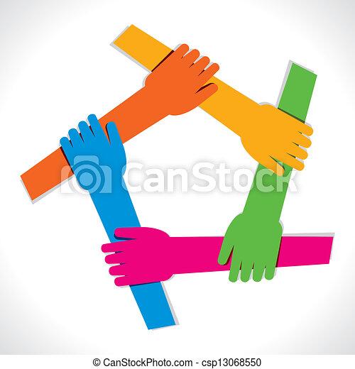 unidade, mão, coloridos, mostrar - csp13068550