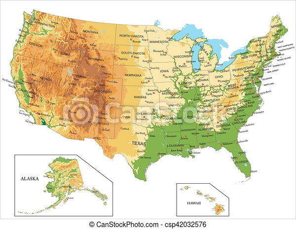 unidas, america-physical, mapa, estados - csp42032576