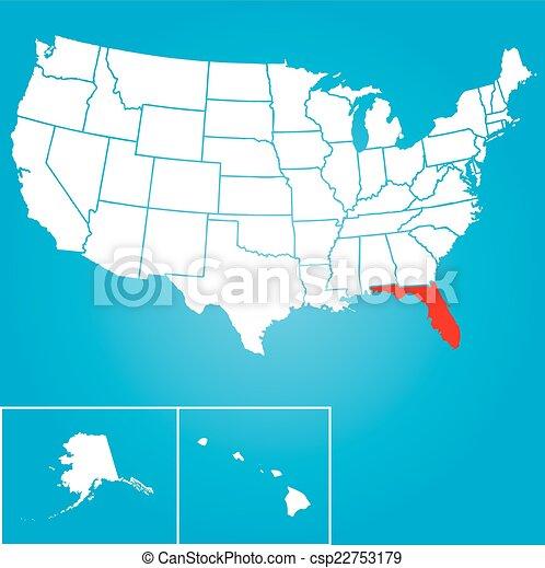 unidas, flórida, -, ilustração, estados, estado, américa - csp22753179