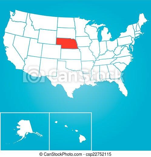 unidas, -, ilustração, estados, estado, nebraska, américa - csp22752115