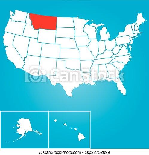 unidas, -, ilustração, estados, estado, montana, américa - csp22752099