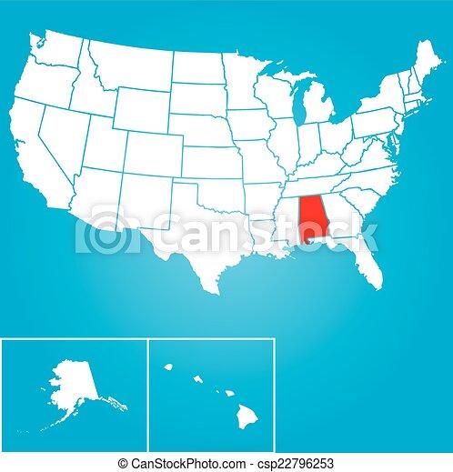 unidas, -, ilustração, estados, estado, alabama, américa - csp22796253