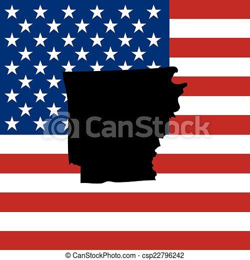 unidas, -, ilustração, estados, estado, arkansas, américa - csp22796242