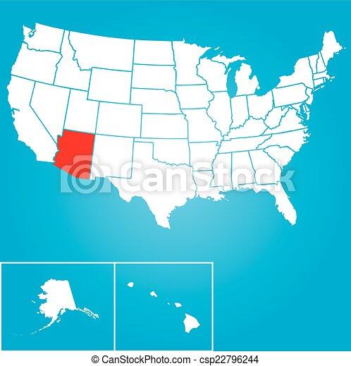 unidas, -, ilustração, estados, estado, arizona, américa - csp22796244
