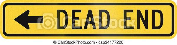 Señal de advertencia de los Estados Unidos: callejón sin salida - csp34177220