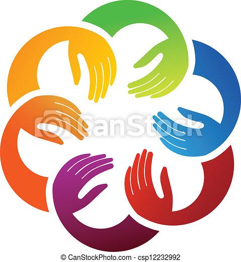 Seis manos unidas - csp12232992