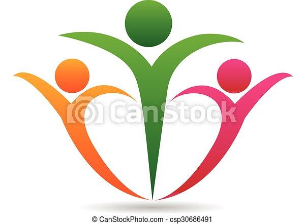 unie, logo, concept, gezin, vrolijke  - csp30686491