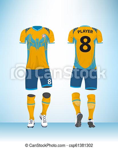 3acfe900ee4 Uniform football blue yellow vector. Soccer jersey or football t ...
