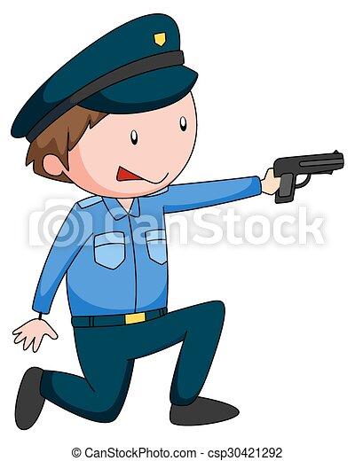 Un policía de uniforme disparando un arma - csp30421292