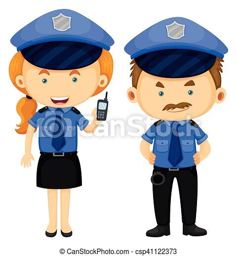 Dos policías con uniforme azul - csp41122373