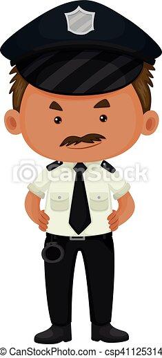 Policía con uniforme blanco y negro - csp41125314