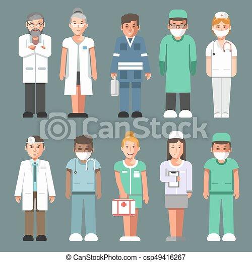 Personal Médico Con Uniformes Aislados Personajes De Dibujos