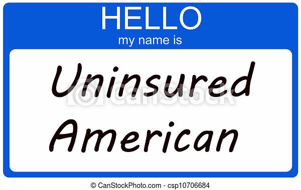 uninsured, amerikaan, hallo - csp10706684