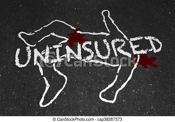 Uninsured Medical Insurance Accident Injury Chalk Outline Illustration - csp38287373