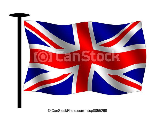 Union jack. Waving british flag with flag pole stock ...