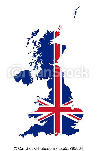 Union Jack Uk Flag In The Outline Of United Kingdom Union Jack In