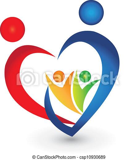 unione, forma cuore, famiglia, logotipo - csp10930689