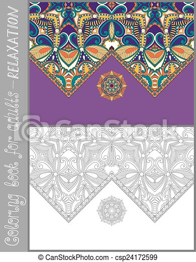 unique coloring book page for adults - flower paisley design - csp24172599
